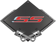 Black Diamond Cross Pistons SS Red Metal Sign Wall Hanging Art - 25x19