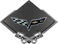 Black Diamond Cross Pistons Corvette 100th Metal Sign Wall Hanging Art - 25x19 (BLCOR100TH)