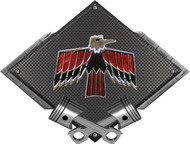 "Black Diamond Cross Pistons Firebird Vintage Metal Sign Wall Hanging Art - 25"" x 19"" BLPONBIRD2"