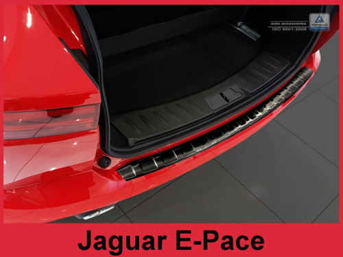 Brushed Stainless Steel Rear Bumper Protector fits 2018 + Jaguar E-Pace - Graphite