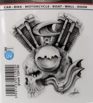 Motorcycle Engine Skull Decal