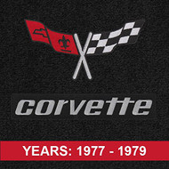 Lloyd Mats - Velourtex Black Front Floor Mats For Corvette C3 1977-79