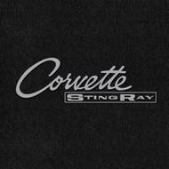 Lloyd Mats Velourtex Black Front Floor Mats For Corvette 1963-65 with Silver C2 Corvette Stingray Embroidery