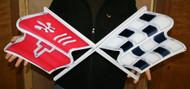 "C3 Corvette Crossed Flag Wall Emblem Large Metal Art 68-76 Full 32"" x 13"""