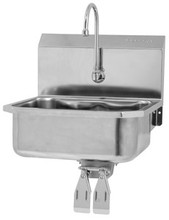 Sink-Small Bowl Wall Mount Stainless-Knee Operated-Gooseneck Faucet