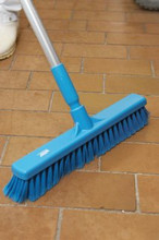 "Floor Broom - 16"" Fine Particle Push Broom w/ Aluminum Handle"