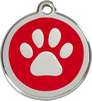 Red Dingo Stainless Steel and Enamel Pet ID Tag - Paw Print