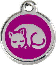 Red Dingo Stainless Steel and Enamel Pet ID Tag - Kitten