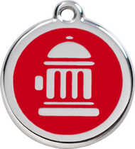 Red Dingo Stainless Steel and Enamel Pet ID Tag - Fire Hydrant