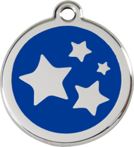 Red Dingo Stainless Steel and Enamel Pet ID Tag - Stars
