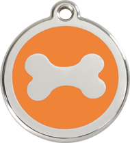 Red Dingo Stainless Steel and Enamel Pet ID Tag - Bone
