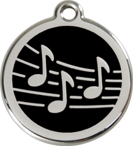 Red Dingo Stainless Steel and Enamel Pet ID Tag - Music