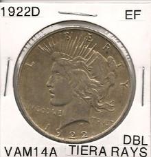 1922 D Peace Dollar VAM 14A  EF