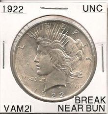 1922 Peace Dollar VAM 2I Break Near Bun UNC