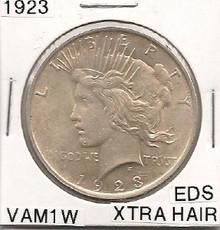 1923 Peace Dollar VAM 1W EDS Extra Hair