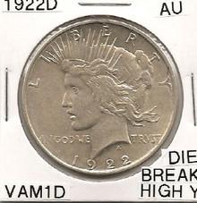 """1922D Peace Dollar VAM 1D Die Break """"Y"""" High AU"""