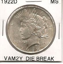 1922D Peace Dollar VAM 2Y Die Break MS