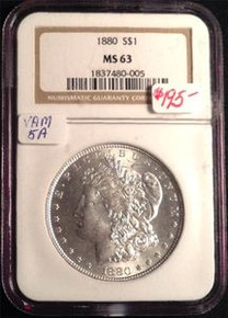 1880-P VAM-5A Doubled Date, Clashed Obverse n & s NGC CERTIFIED MS 63 331088902077