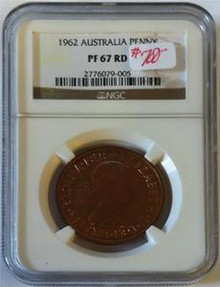 1962 AUSTRALIA NGC CERTIFIED PENNY PF 67 RED