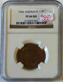 1962 AUSTRALIA 1/2 PENNY NGC CERTIFIED PF 64 RED