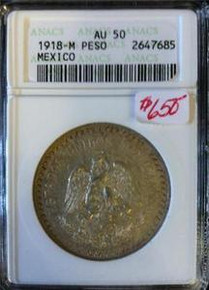 1918-M MEXICO PESO ANACS CERTIFIED AU 50 RARE ABOUT UNCIRCULATED