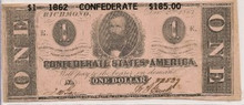 $1 1862 Confederate States of America ONE AU Dec 2 1862