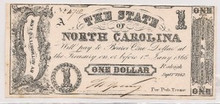 $1 One The State of North Carolina 1866 Choice Unc