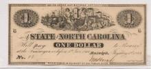$1 One State of North Carolina 1863 Civil War Era Unc