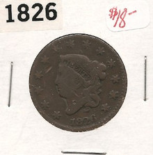 1826 Copper Large Cent Coronet Head VG Very Good