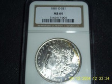 1881-O Morgan Silver Dollar NGC MS 64 Touch of Rainbow