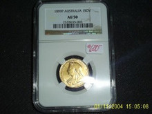 1899 P Gold Soverign Austalia 1SOV AU 50 NGC About Unc