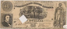 $10 Confederate States of America Type 30 Sept 2nd 1861
