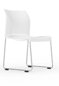 I-Desk Pommerac High Density Sled Base Stack Chair in white