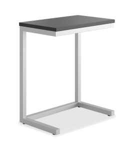 basyx by Hon Cantilever Table in Black Table Top and Silver Frame