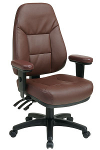 OSP EC4300 Ergonomic High Back Leather Chair in Burgundy Eco Leather