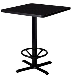 Bistro Square Laminate Bar Table with OPtional Foot Ring