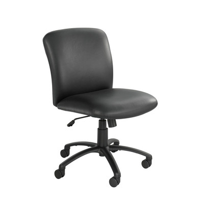 Black Vinyl Mid Back, Big And Tall Swivel Chair No Arms ...