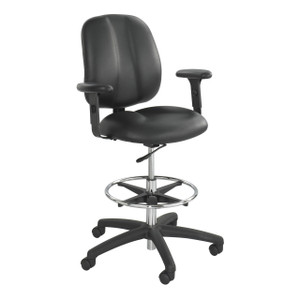 Black Vinyl Apprentice II Extended Height Chair with Casters and Adjustable Arms