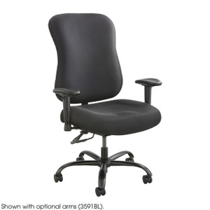 Black Fabric Big and Tall Task Chair with Adjustable Arms