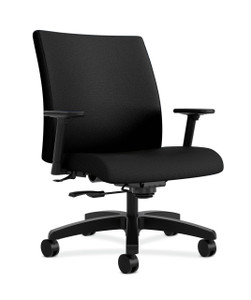 Ignition Series ® Big and Tall Mid Back Work Chair in Black Fabric with Adjustable Arms