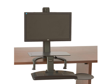 TaskMate Go Desk Top Sit Stand in sit position