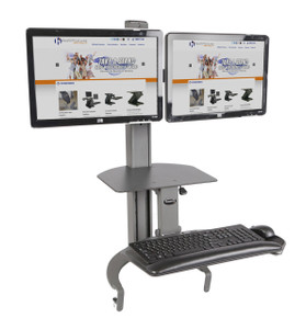 """TaskMate Go Dual Monitor Desk Top Sit Stand Handles up to two (2) 26""""W LCD screens"""