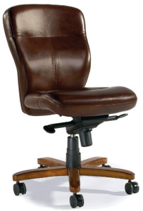 Hand crafted leather in Umber Brown with medium wood finish (over metal) base