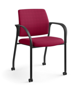 Hon Ignition Multi-Purpose Stacking Chair With Casters in Marsala fabric