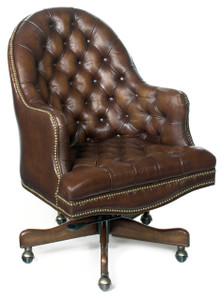 Beautifully button tufted premium leather in Bistre Brown