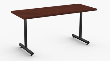 "Kingston Training Table in Cherry with Standard Black T-Legs 24"" x 60"""