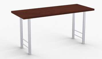 "Antonio Training Table in Cherry, 24"" x 60"" with Optional Metallic Silver Leg Finish"