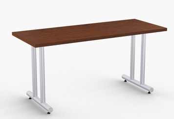 "Apollo Training Table in Cherry with Optional Metallic Silver T-Legs 24"" x 60"""