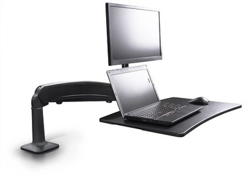 Symmetry Co-Pilot Single Arm Sit-Stand Workstation with black arm