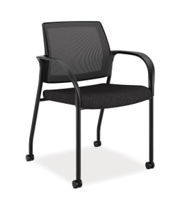 Hon Ignition Multi-Purpose Stacking Chair Mesh Back With Casters in Black fabric